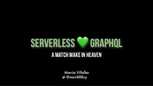 Serverless 💚 GraphQL Marcia Villalba @mavi888uy A Match make in heaven