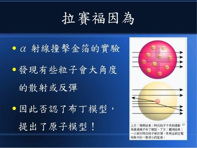 拉賽福因為 ● α 射線撞擊金箔的實驗 ● 發現有些粒子會大角度 的散射或反彈 ● 因此否認了布丁模型, 提出了原子模型!