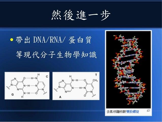 然後進一步 ● 帶出 DNA/RNA/ 蛋白質 等現代分子生物學知識
