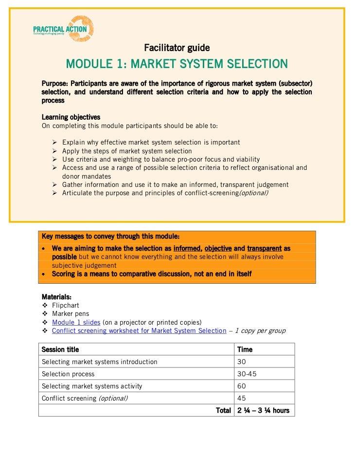 Facilitator guide        MODULE 1: MARKET SYSTEM SELECTIONPurpose: Participants are aware of the importance of rigorous ma...