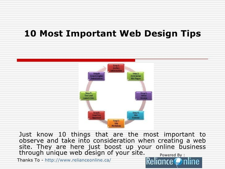 10 Most Important Web Design Tips Just know 10 things that are the most important to observe and take into consideration w...