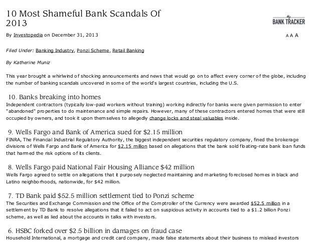 10 most shameful bank scandals of 2013