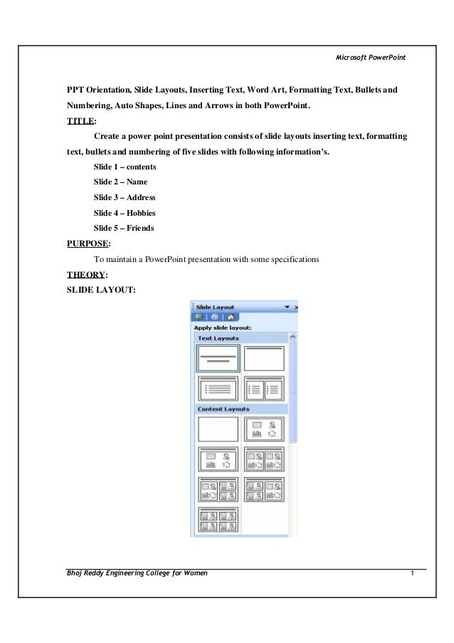 Microsoft PowerPoint  PPT Orientation, Slide Layouts, Inserting Text, Word Art, Formatting Text, Bullets and Numbering, Au...