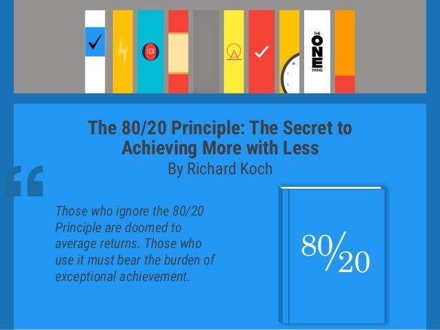 10 must read books to get more work done for Koch 80 20 principle