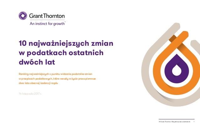 1© Grant Thornton. Wszystkie prawa zastrzeżone. 10 najważniejszych zmian w podatkach ostatnich dwóch lat Ranking najważnie...