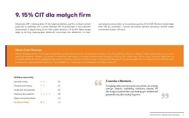 """4© Grant Thornton. Wszystkie prawa zastrzeżone. """" """" 9. 15% CIT dla małych firm To byłaby dobra zmiana pod warunkiem, że w ..."""