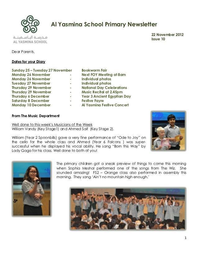 Al Yasmina School Primary Newsletter                                                                              22 Novem...