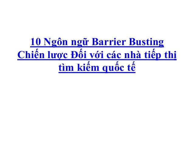 10 Ngôn ngữ Barrier BustingChiến lược Đối với các nhà tiếp thị        tìm kiếm quốc tế