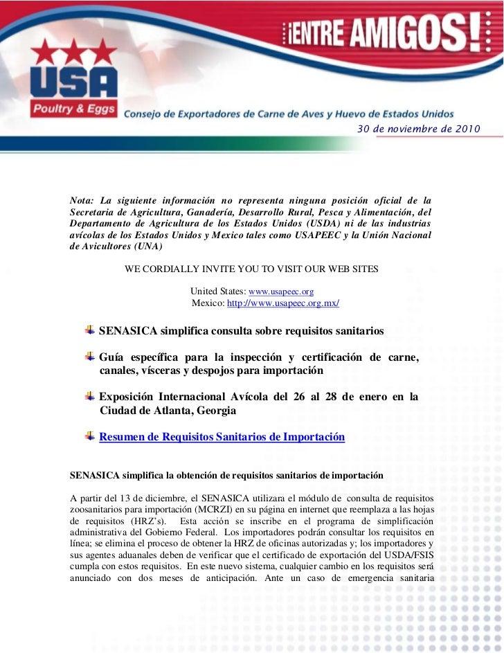 30 de noviembre de 2010Nota: La siguiente información no representa ninguna posición oficial de laSecretaria de Agricultur...