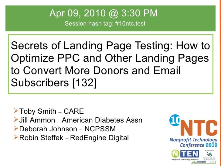 Secrets of Landing Page Testing: How to Optimize PPC and Other Landing Pages to Convert More Donors and Email Subscribers ...