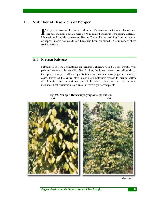 Pepper Production Guide for Asia and The Pacific 89 11. Nutritional Disorders of Pepper airly extensive work has been done...