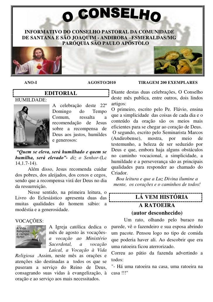 INFORMATIVO DO CONSELHO PASTORAL DA COMUNIDADE    DE SANTANA E SÃO JOAQUIM - ANDIROBA –ESMERALDAS/MG                  PARÓ...