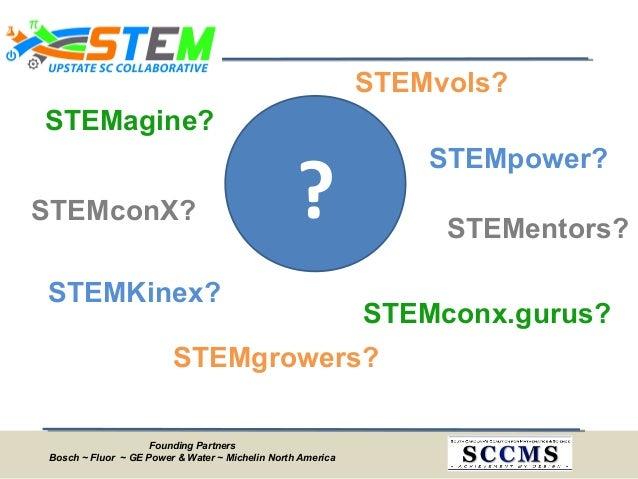 Founding Partners Bosch ~ Fluor ~ GE Power & Water ~ Michelin North America ? STEMgrowers? STEMagine? STEMconX? STEMKinex?...