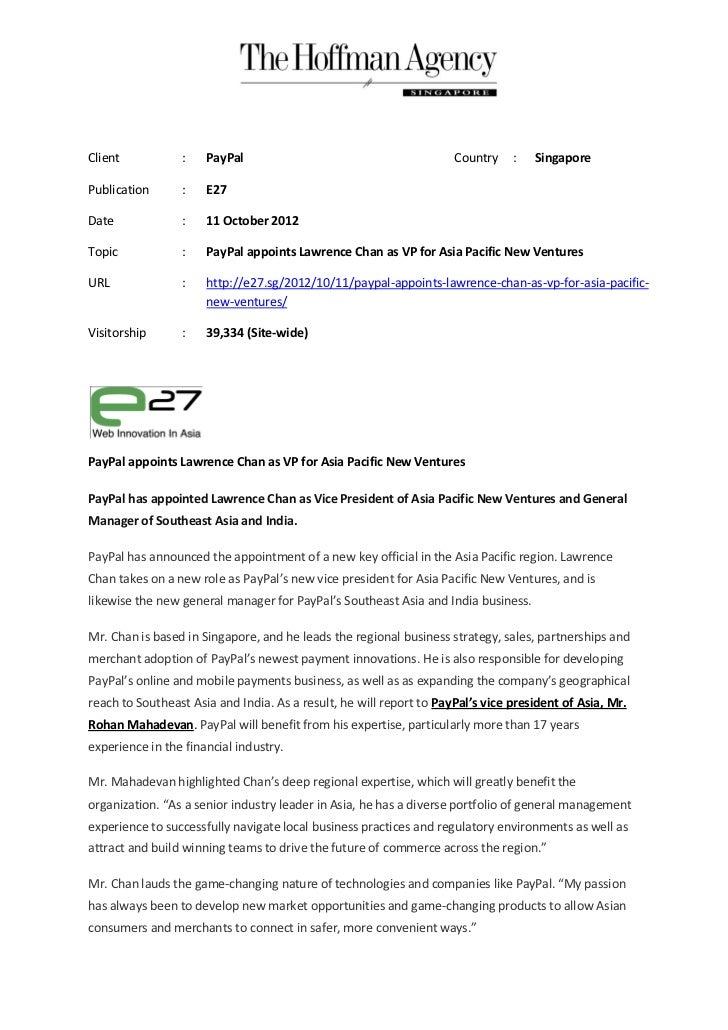 Client           :    PayPal                                         Country    :   SingaporePublication      :    E27Date...