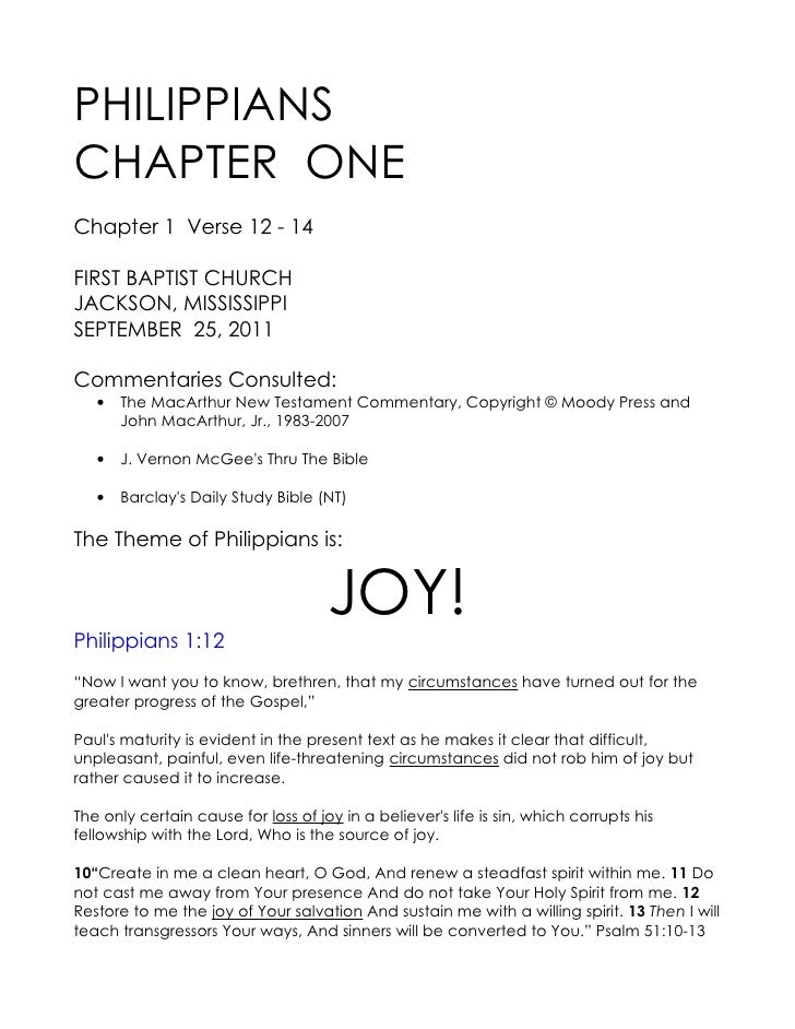 PHILIPPIANSCHAPTER ONEChapter 1 Verse 12 - 14FIRST BAPTIST CHURCHJACKSON, MISSISSIPPISEPTEMBER 25, 2011Commentaries Consul...