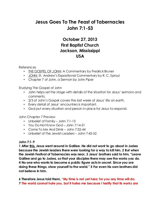 10 October 27 2013 John 71 53 Jesus Goes To The Feast Of Tabernac