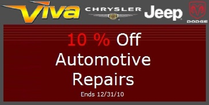 10% OFF Automotive Repairs Special – Viva Dodge Chrysler Jeep El Paso TX