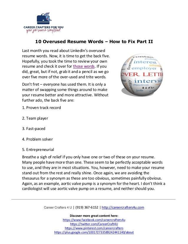 10 Overused Resume Words – How to Fix Part II