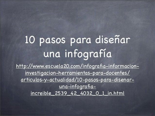 10 pasos para diseñar una infografía http:/ /www.escuela20.com/infografia-informacioninvestigacion-herramientas-para-docent...