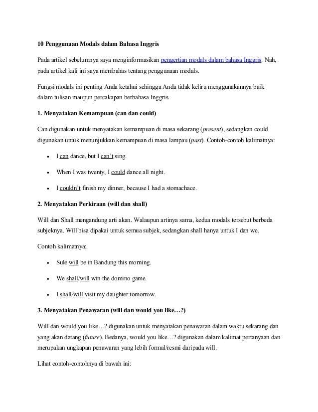10 Penggunaan Modals Dalam Bahasa Inggris