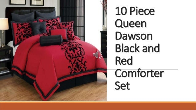 10 Piece Queen Dawson Black And Red Comforter Set