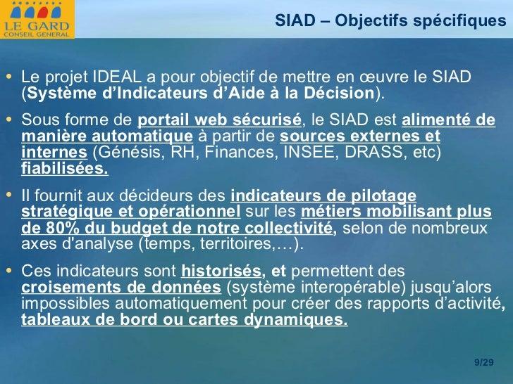 SIAD – Objectifs spécifiques <ul><li>Le projet IDEAL a pour objectif de mettre en œuvre le SIAD ( Système d'Indicateurs d'...