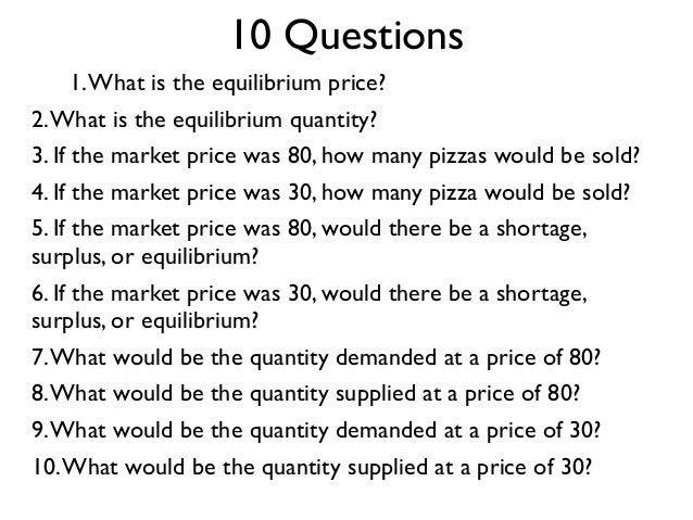 1.What is the equilibrium price? 2.What is the equilibrium quantity? 3. If the market price was 80, how many pizzas would ...