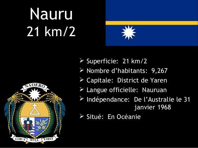 Nauru21 km/2           Superficie: 21 km/2           Nombre d'habitants: 9,267           Capitale: District de Yaren   ...