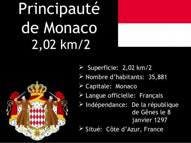 Principautéde Monaco 2,02 km/2          Superficie: 2,02 km/2         Nombre d'habitants: 35,881         Capitale: Mona...