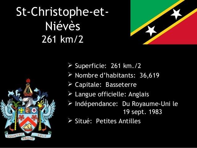 St-Christophe-et-     Niévès    261 km/2          Superficie: 261 km./2          Nombre d'habitants: 36,619          Ca...