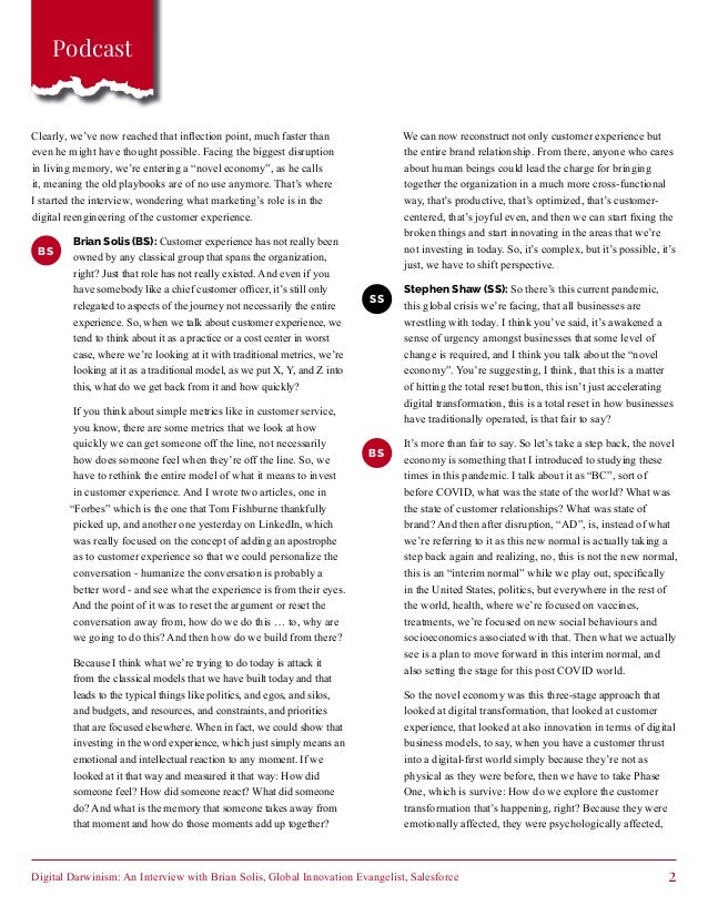Digital Darwinism: An Interview with Brian Solis, Global Innovation Evangelist, Salesforce - Customer First Thinking Slide 2