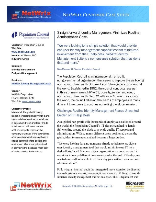 NetWrix Customer Case Study                                         Straightforward Identity Management Minimizes Routine ...