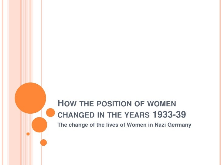 HOW THE POSITION OF WOMENCHANGED IN THE YEARS 1933-39The change of the lives of Women in Nazi Germany