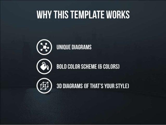 Why this presentation template works – unique diagrams – bold color schemes – 3D diagrams