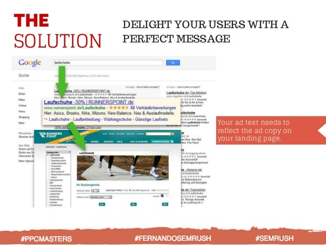 THE SOLUTION DELIGHT YOUR USERS WITH A PERFECT MESSAGE Your ad text needs to reflect the ad copy on your landing page. #PP...