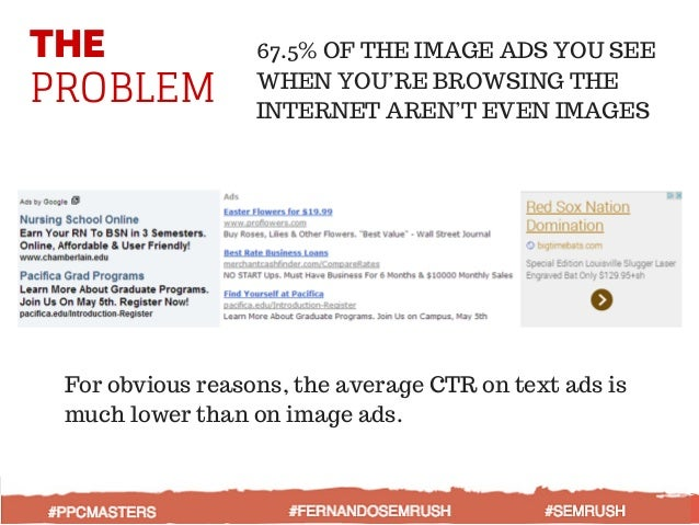 THE PROBLEM 67.5% OF THE IMAGE ADS YOU SEE WHEN YOU'RE BROWSING THE INTERNET AREN'T EVEN IMAGES For obvious reasons, the a...