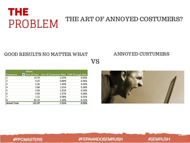THE PROBLEM THE ART OF ANNOYED COSTUMERS? GOOD RESULTS NO MATTER WHAT VS ANNOYED CUSTUMERS
