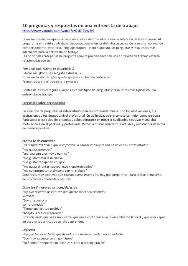 10 Preguntas Y Respuestas En Una Entrevista De Trabajo