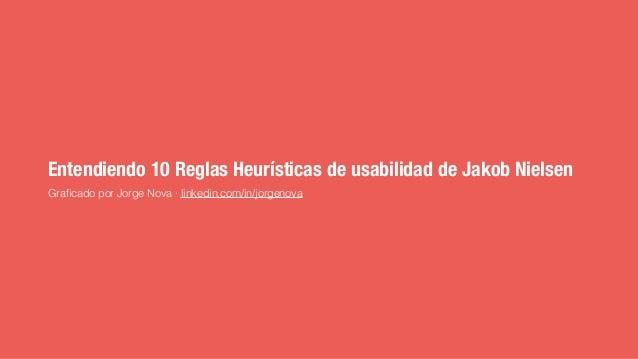 Entendiendo 10 Reglas Heurísticas de usabilidad de Jakob Nielsen Graficado por Jorge Nova · linkedin.com/in/jorgenova