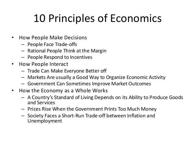 Understanding the principles of economics and