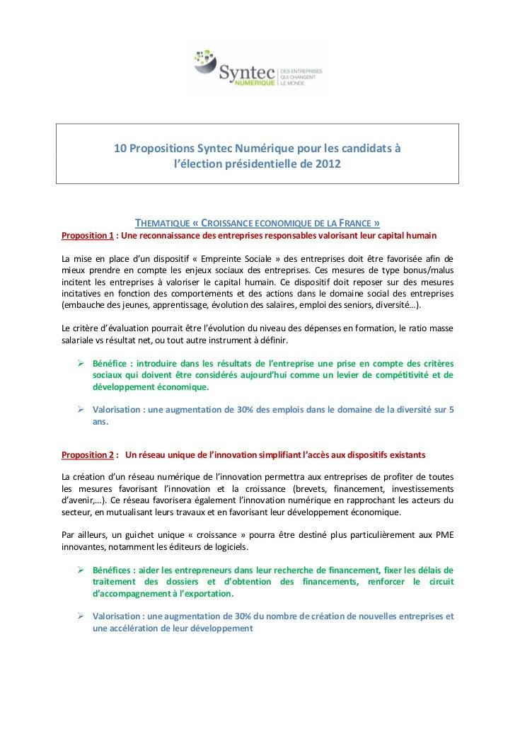 10 Propositions Syntec Numérique pour les candidats à                        l'élection présidentielle de 2012            ...