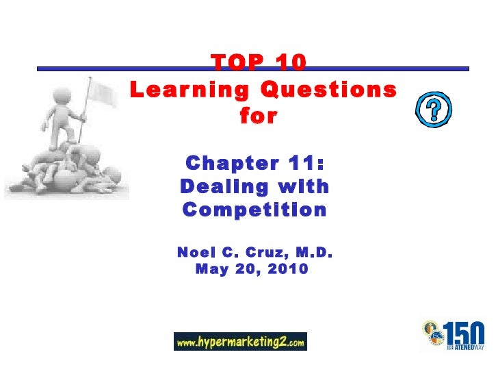 TOP 10  Learning Questions for Chapter 11: Dealing with Competition Noel C. Cruz, M.D. May 20, 2010