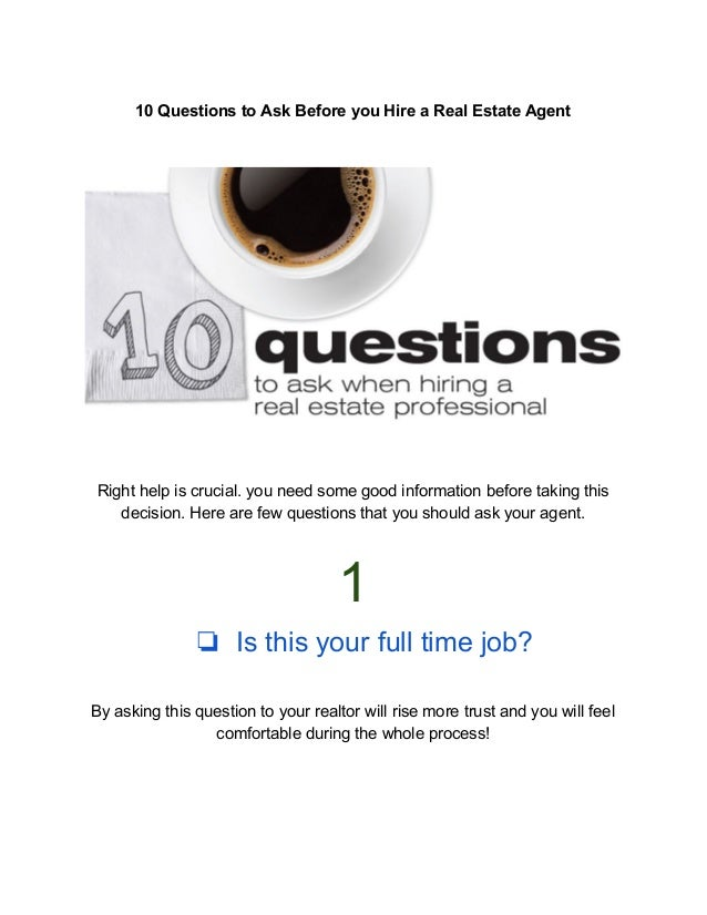 10 Questions Home Owners Should Ask Real Estate Agents