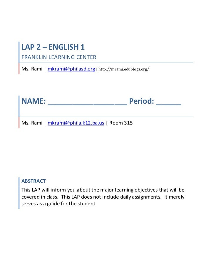 LAP 2 – ENGLISH 1FRANKLIN LEARNING CENTERMs. Rami | mkrami@philasd.org | http://mrami.edublogs.org/| Room 315<br />NAME: _...