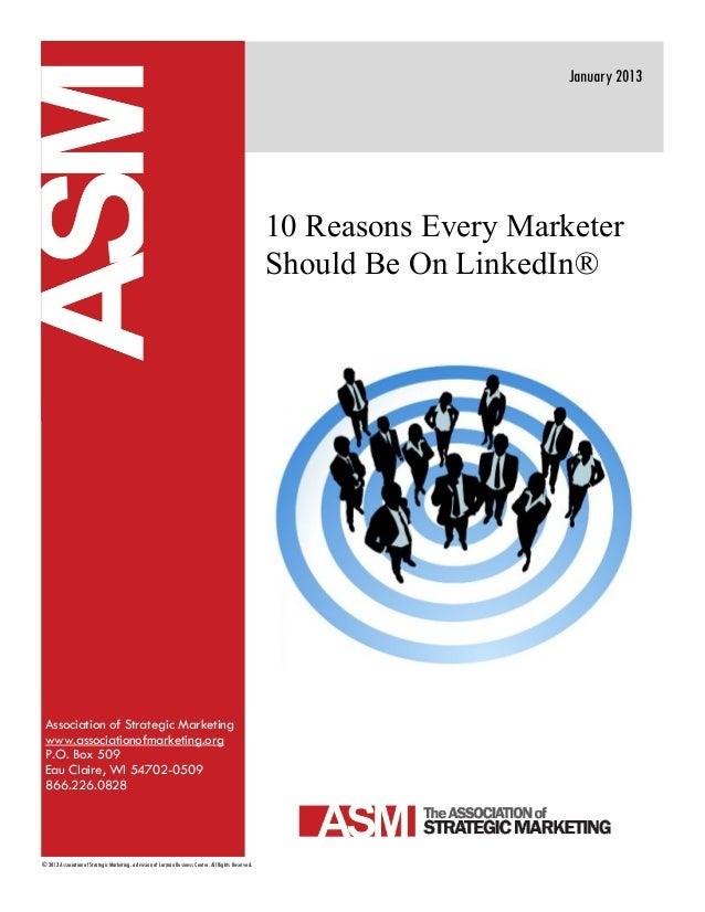 Association of Strategic Marketingwww.associationofmarketing.orgP.O. Box 509Eau Claire, WI 54702-0509866.226.0828January 2...