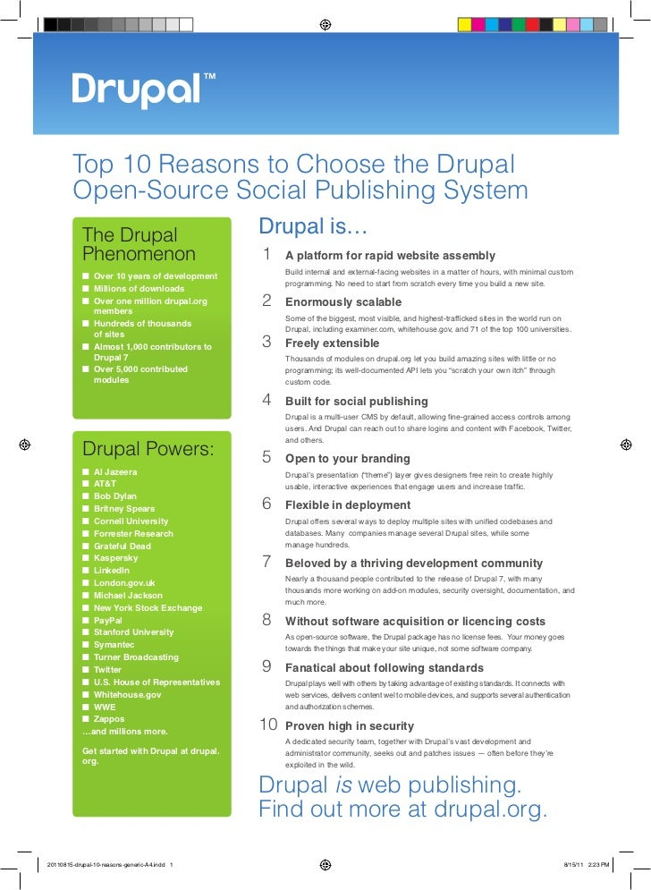 Top 10 Reasons to Choose the Drupal        Open-Source Social Publishing System            The Drupal                     ...