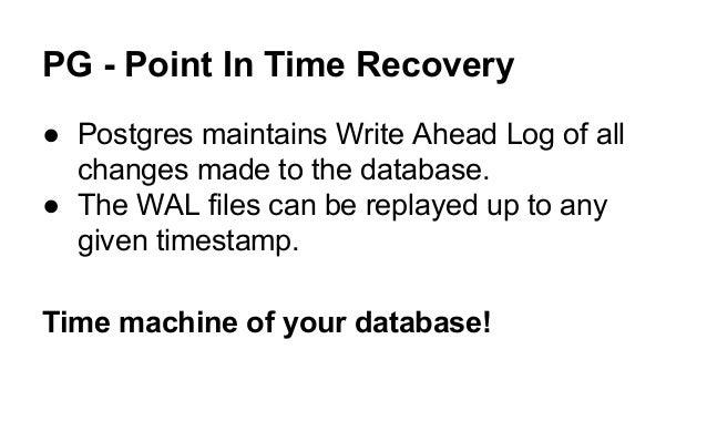 Write ahead logging postgresql commands