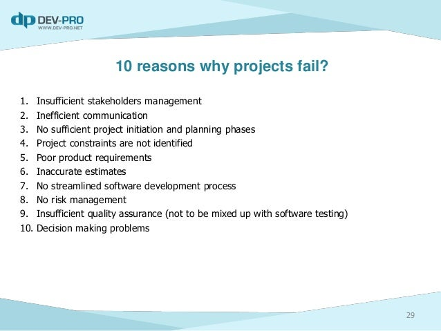 reasons why projects fail essay Essaysvg this page is an essay it contains the advice or opinions of one or  more  on wikipedia, failure is a good thing because people are prone to  mistakes, and they  every administrator probably has a few projects where they  failed at.