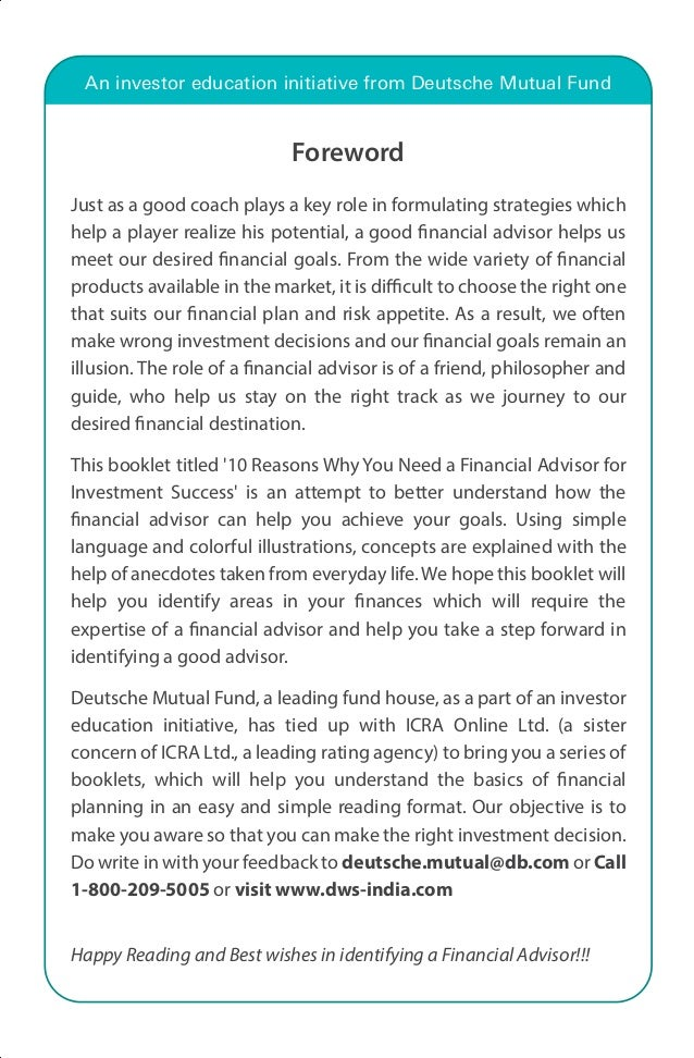 An investor education initiative from Deutsche Mutual Fund  Foreword  Just as a good coach plays a key role in formulating...