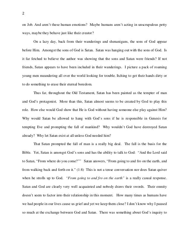 an analysis of the portrayal of god in the book of job The testament of job is a book written in the 1st century bc or the 1st century ad  the earliest  job is equally portrayed differently satan is shown to directly  attack job, but fail each time due to job's  rather than complaining or  challenging god, job consistently asserts his faith despite the laments of his  comforters.